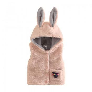 Lovely Hooded Rabbit Ear Fleece Vest for Girl