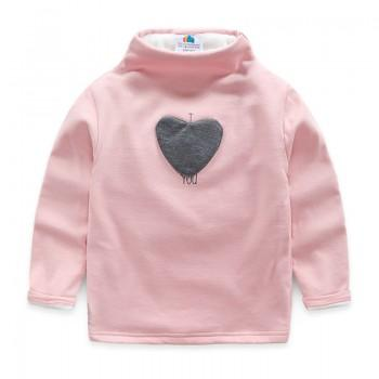 Solid Appliqued Heart Fleece Lined Turtleneck Pullover for Toddler/Baby Girl