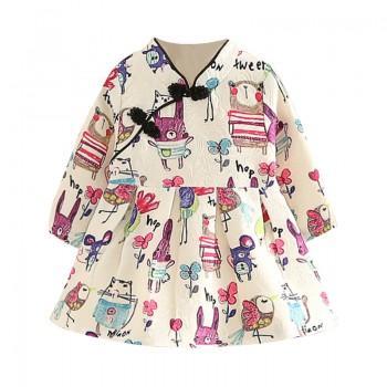 Chic Long Sleeves Animal Floral Cheongsam Dress for Girls