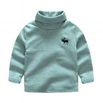 Solid Appliqued Deer/Elephant Turtleneck Top for Toddler/Baby