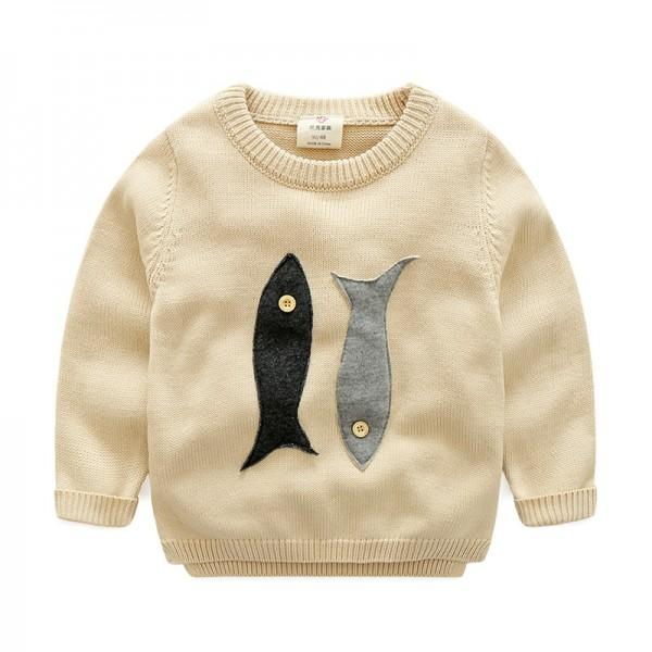 Cute Appliqued Baby Fish Knit Sweater for Toddler Boy and Boy