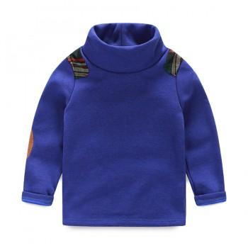 Stylish Stitching Turtleneck Plush Lined Pullover for Boy