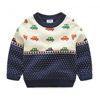 Cool Car Print Dotted Long-sleeve Sweater Pullover for Baby Boy/Boy