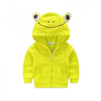 Smile Frog Design Green Fleece Hooded Coat for Baby and Kid