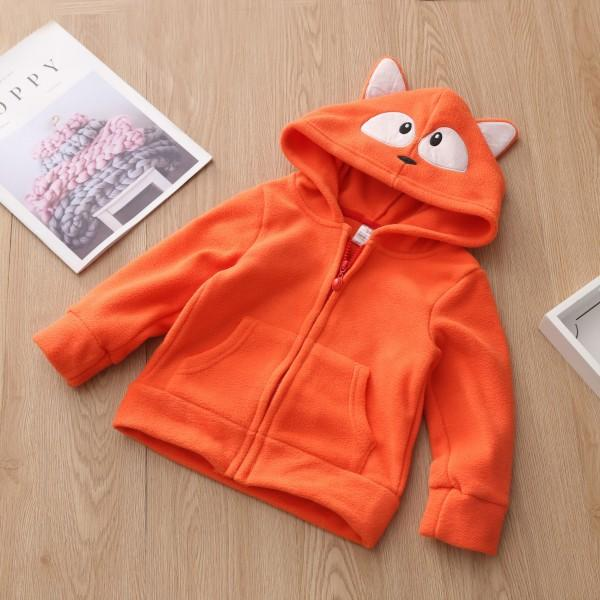 Cute Fox Design Fleece Orange Hooded Coat for Toddler/Baby