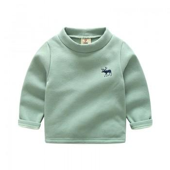 Casual Solid Fleece Lined Turtleneck Pullover for Baby Boy and Boy