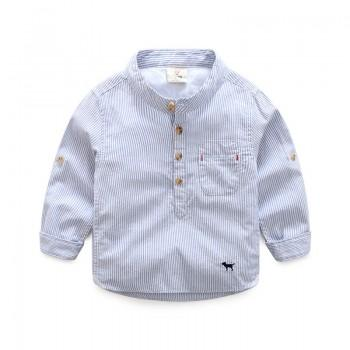 Casual Stripes Embroidered Dog Long-sleeve Shirt for Toddler Boy and Boy