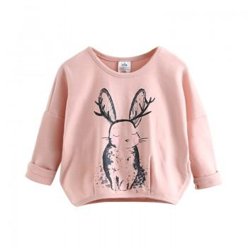 Adorable Rabbit Print Long Sleeves T-shirt for Toddler Girl and Girl