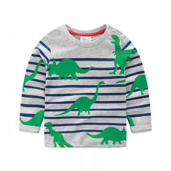 Comfy Green Dinosaur Print Striped Long Sleeves Top for Boys