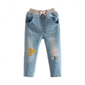 Sweet Bow Decor Cartoon Applique Jeans for Girl