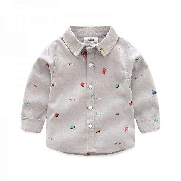 Handsome Car Print Long-sleeve Shirt for Toddler Boy and Boy