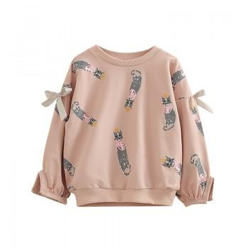 Cute Cat Print Bow Decor Long-sleeve Pullover for Girl
