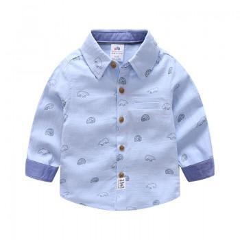 Trendy Bear Print Lapel Long-sleeve Shirt for Toddler Boy and Boy