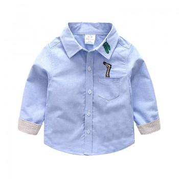 Handsome Giraffe Embroidered Long Sleeve Polo Collar Shirt for Boys