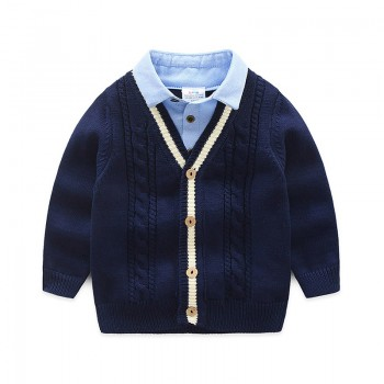 Faux-two Polo Collar Sweater for Baby Boy and Boy