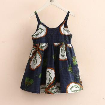 Sweet V-neck Flower Graphic Slip Dress for Toddler Girl and Girl