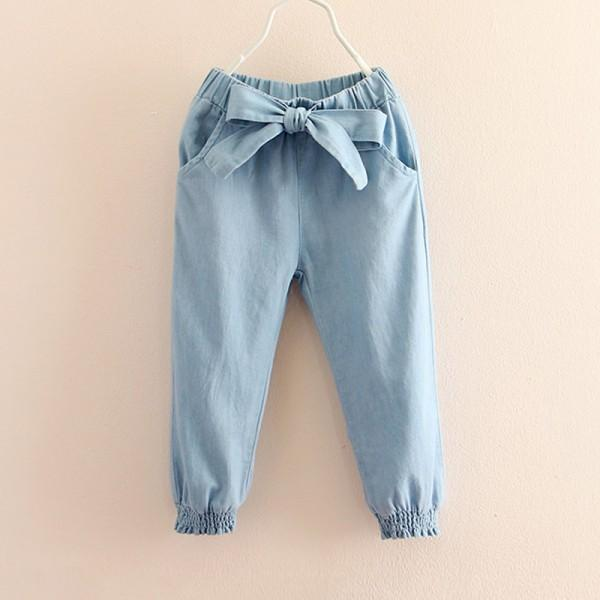 Casual Solid Bow Decor Pants for Toddler Girl and Girl