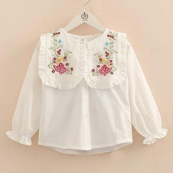 Fashionable Embroidered Flower Long-sleeve Shirt for Toddler Girl and Girl