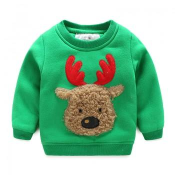 Warm Reindeer Appliqued Pullover for Toddler Boy and Boy
