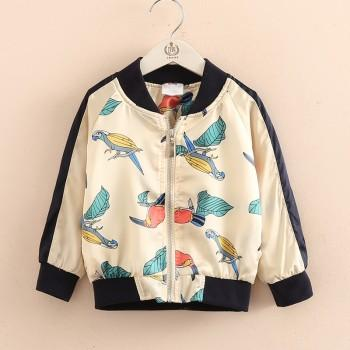 Stylish Bird Print Baseball Jacket for Toddler Girl and Girl