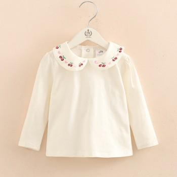 Pretty Cherry Embroidered Doll Collar Top in White for Girl