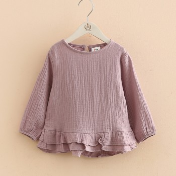 Solid Layered Hem Long-sleeve Blouse for Toddler Girl and Girl