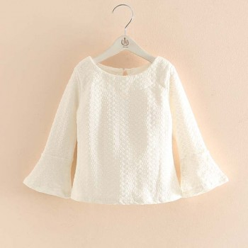 Girl's Chic Flare-sleeve Top in White