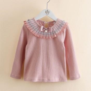 Trendy Solid Pleated Collar Long-sleeve Top for Girls