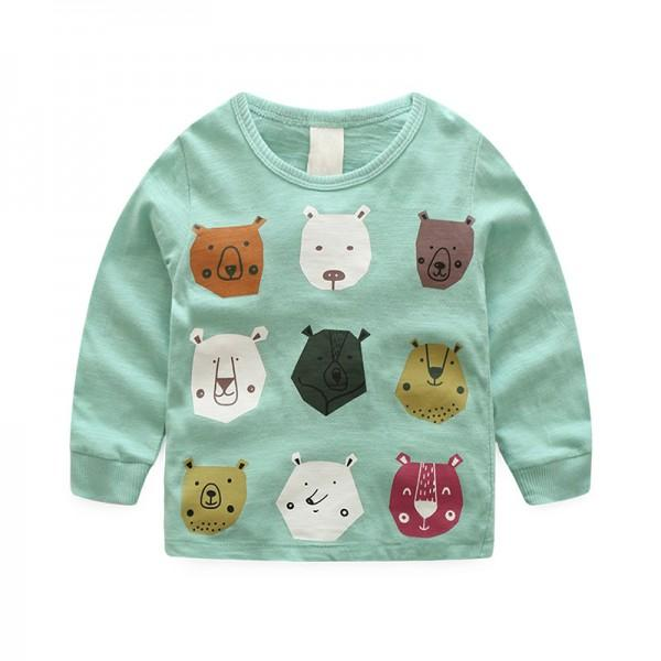 Lovely Bear Print Long-sleeve Top in Green for Boy