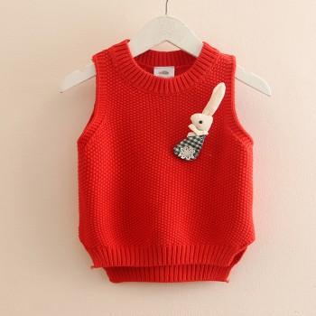 Cute 3D Decor Sleeveless Sweater for Toddler Girl and Girl