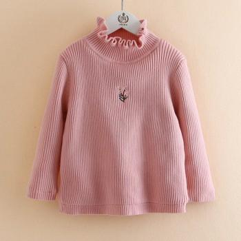 Trendy Knitted Solid Ribbed Embroidered Sweater for Toddler Girl and Girl