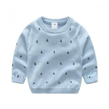 Stylish Embroidered Ship Knitted Sweater for Toddler Boy and Boy