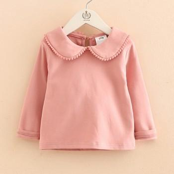 Comfy Doll Collar Solid Long-sleeve Top for Girl
