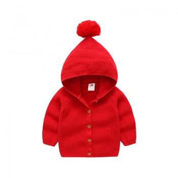 Adorable Solid Pompom Decor Hooded Knitted Cardigan for Toddler Girl and Girl