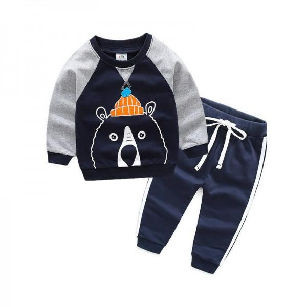 Fun Bear Print Long-sleeve Pullover and Pants Set for Toddler Boy and Boy
