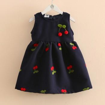 Lovely Pompom Cherry Decor Sleeveless Lined Dress for Toddler Girl and Girl