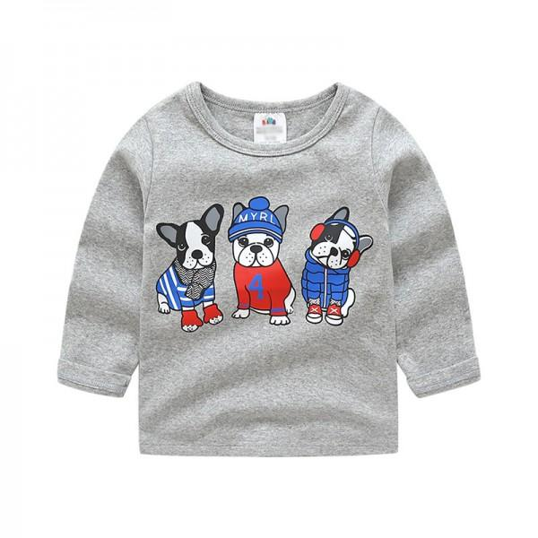 Casual Dog Print Long-sleeve Top for Baby and Kid
