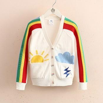 Stylish Rainbow Design Long-sleeve Cardigan