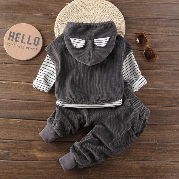 3-piece Strips Tee, Ribbed Sleeveless Hoodie and Pants for Baby Boy/Boy