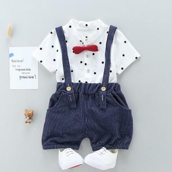 Handsome Polka Dots Short-sleeve Tee and Shorts Sets for Baby Boys