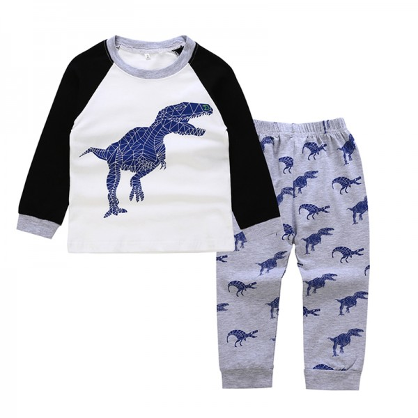 Comfy Dinosaur Print Long-sleeve Top and Pants Set for Toddler Boy and Boy