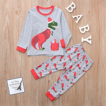 2-piece Super Casual Dinosaur Print Top and Pants Set for Baby
