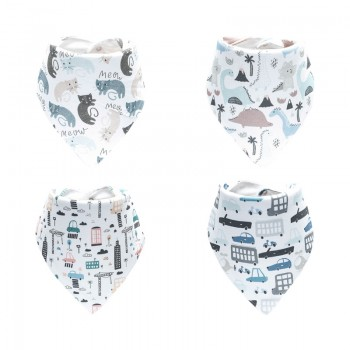 4-pack Cartoon Patterned Cotton Bibs Set for Baby