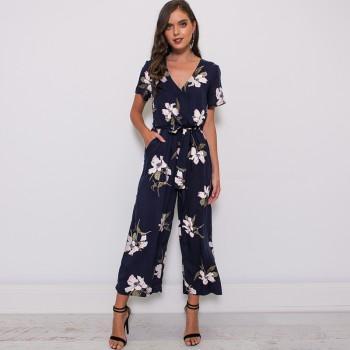 Trendy Floral V Neck Short-sleeve Jumpsuit