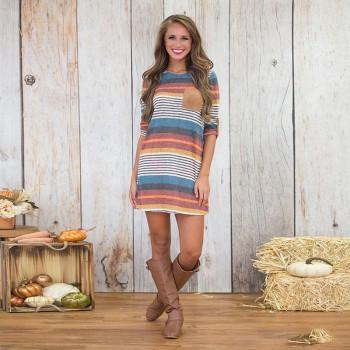 Trendy Striped Pocket Design Dress