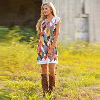 Stylish Printed Short-sleeve Dress