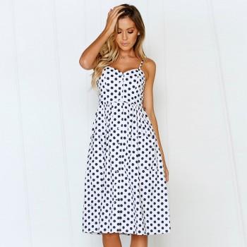 Chic Polka Dots Backless Slip Dress