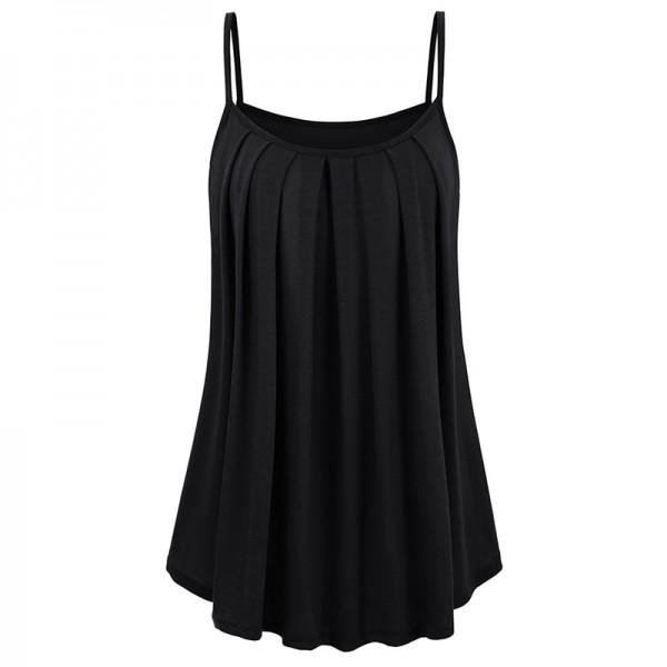 Casual Solid Pleated Camisole
