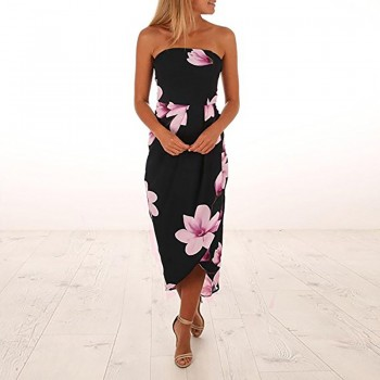Pretty Floral Tube Backless Dress