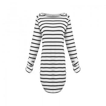 Pretty Striped Fitted Long-sleeve Dress